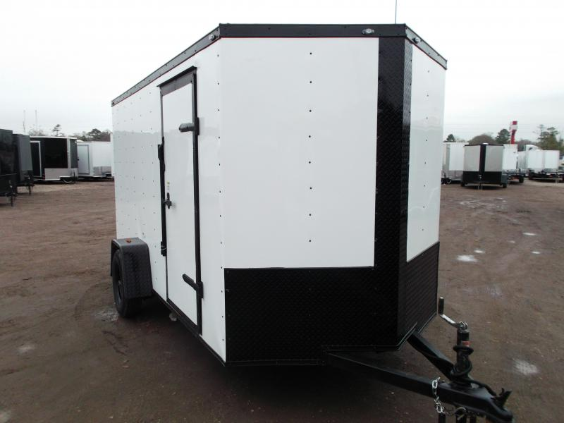 "2020 Texas Select 6x12 Single Axle Cargo Trailer / Enclosed Trailer / White / Blacked Out / 6'3"" Interior / Ramp / Side Door / LEDs"
