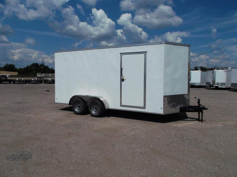 2020 Covered Wagon Trailers 7x16 Tandem Axle Cargo Trailer / Enclosed Trailer / 7ft Interior / Ramp / RV Door / LEDs