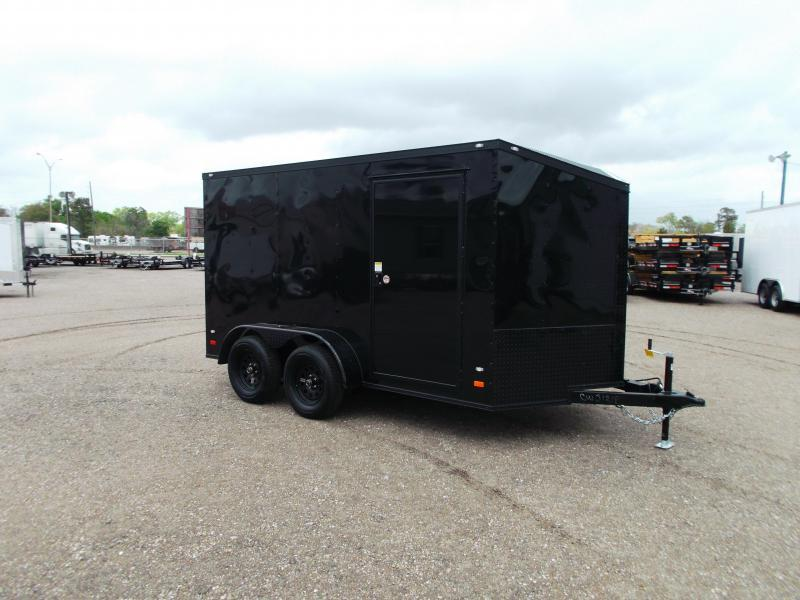 "SPECIAL - 2020 Covered Wagon Trailers 7x12 Tandem Axle Motorcycle Trailer / Cargo Trailer / Black Out Package / 6'6"" Interior Height / Ramp / LEDs"