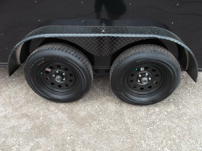 """SPECIAL - 2020 Covered Wagon Trailers 7x12 Tandem Axle Motorcycle Trailer / Cargo Trailer / Black Out Package / 6'6"""" Interior Height / Ramp / LEDs"""