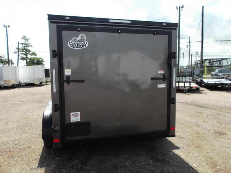 2020 Covered Wagon Trailers 7x12 Tandem Axle Motorcycle Trailer / Cargo Trailer / Charcoal / Black Out Package / Ramp / LEDs