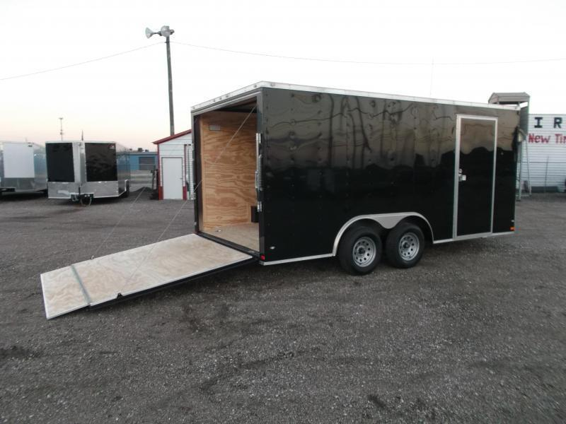 2020 Covered Wagon 8.5x16 Tandem Axle Cargo Trailer / Car Hauler / Ramp / RV Side Door / LEDs