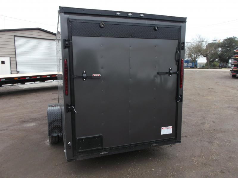"2020 Texas Select 6x12 Single Axle Cargo Trailer / Enclosed Trailer / Charcoal Gray / Blacked Out / 6'3"" Interior / Ramp / Side Door / LEDs"
