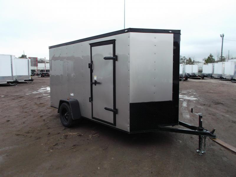 "SPECIAL - 2020 Texas Select 6x12 Single Axle Cargo Trailer / Enclosed Trailer / Silver / Blacked Out / 6'3"" Interior / Ramp / Side Door / LEDs"