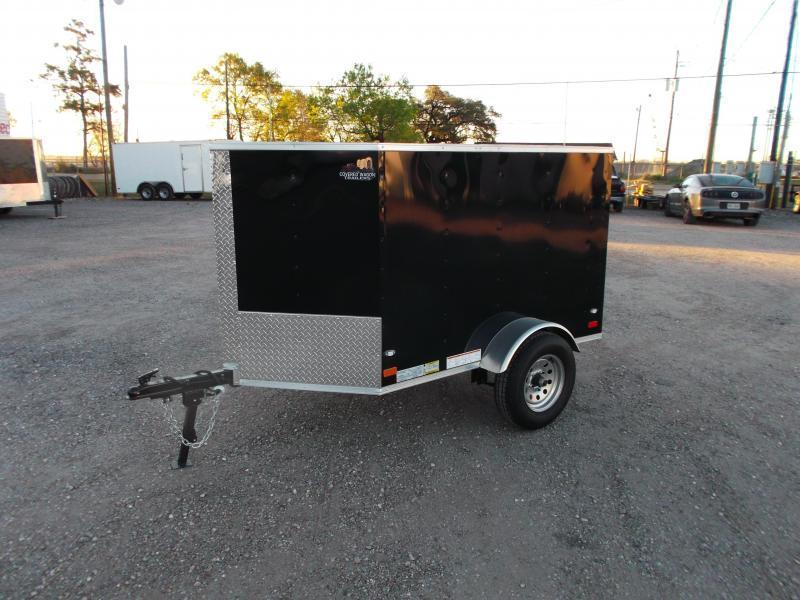 2020 Covered Wagon Trailers 4x6 Single Axle Cargo Trailer / Enclosed Trailer / Black / LEDs