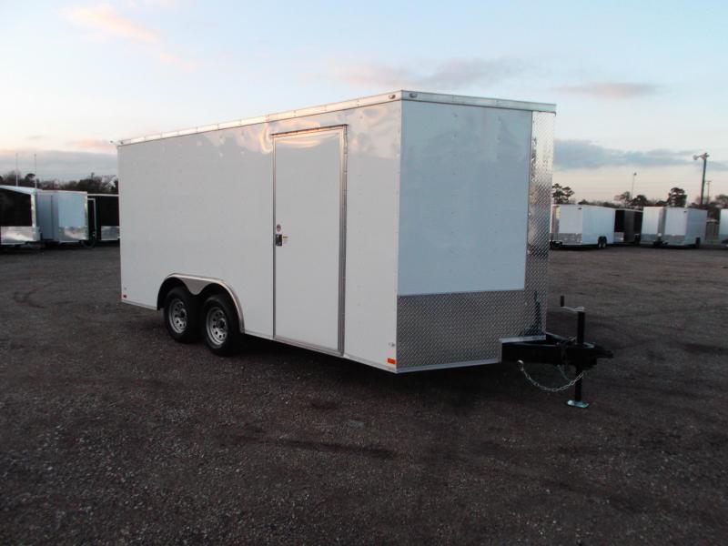 SPECIAL - 2020 Covered Wagon 8.5x16 Tandem Axle Cargo Trailer / Car Hauler / Ramp / RV Door / LEDs