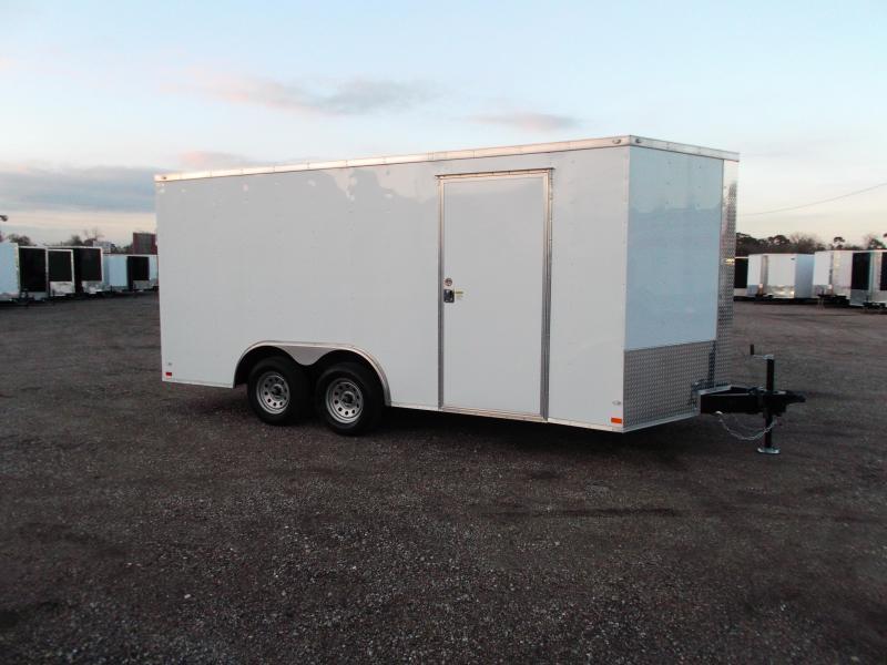 SPECIAL - 2020 Covered Wagon 8.5x16 Tandem Axle Cargo Trailer / Car Hauler / Ramp / RV Door / LEDs