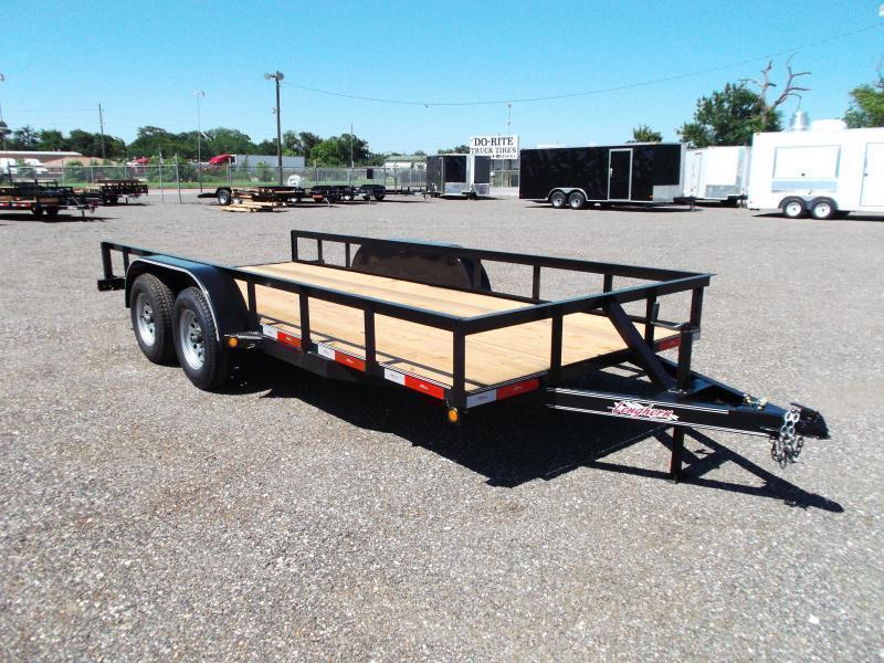 2020 Longhorn Trailers 16ft Tandem Axle Utility Trailer w/ 5ft Stow Away Ramps / Electric Brakes
