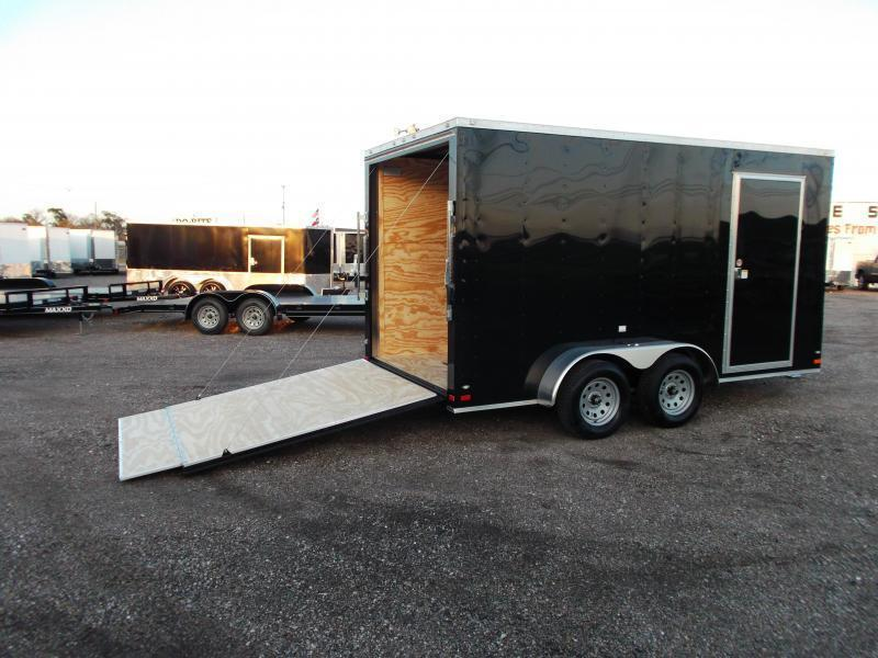 """2020 Covered Wagon Trailers 7x14 Tandem Axle Cargo Trailer / Enclosed Trailer / 7'6"""" Interior / Ramp / RV Side Door / LEDs"""