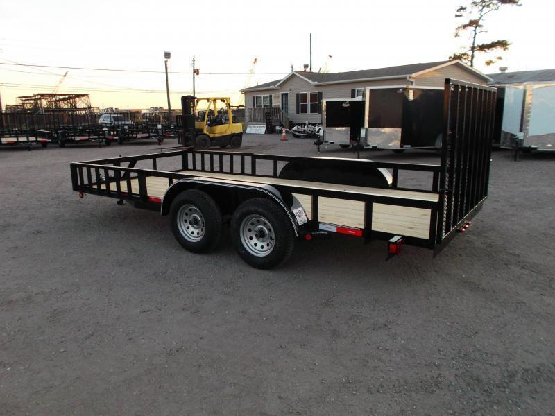 2020 Longhorn Trailers 16ft Utility Trailer / ATV Trailer w/ 4ft Rear Ramp Gate / 5ft Slide Out Side Ramps