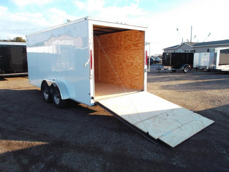 2020 Texas Select 7x16 Tandem Axle Cargo Trailer / Enclosed Trailer / Ramp / 7ft Interior / Side Door / LEDs