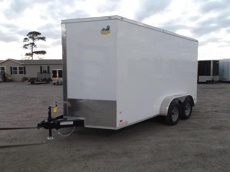 2020 Covered Wagon Trailers 7x14 Tandem Axle Cargo / Enclosed Trailer / 7ft Interior / Ramp / RV SIde Door / LEDs