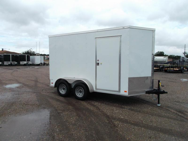 2020 Covered Wagon Trailers 6x12 Tandem Axle Cargo Trailer / Enclosed Trailer / 7ft Interior / Ramp Gate / LEDs / RV Side Door
