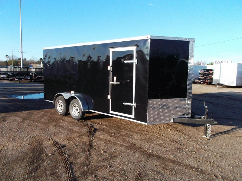 "2020 Texas Select 7x16 Tandem Axle Cargo Trailer / Enclosed Trailer / Ramp / 6'6"" Interior Height / Side Door / LEDs"