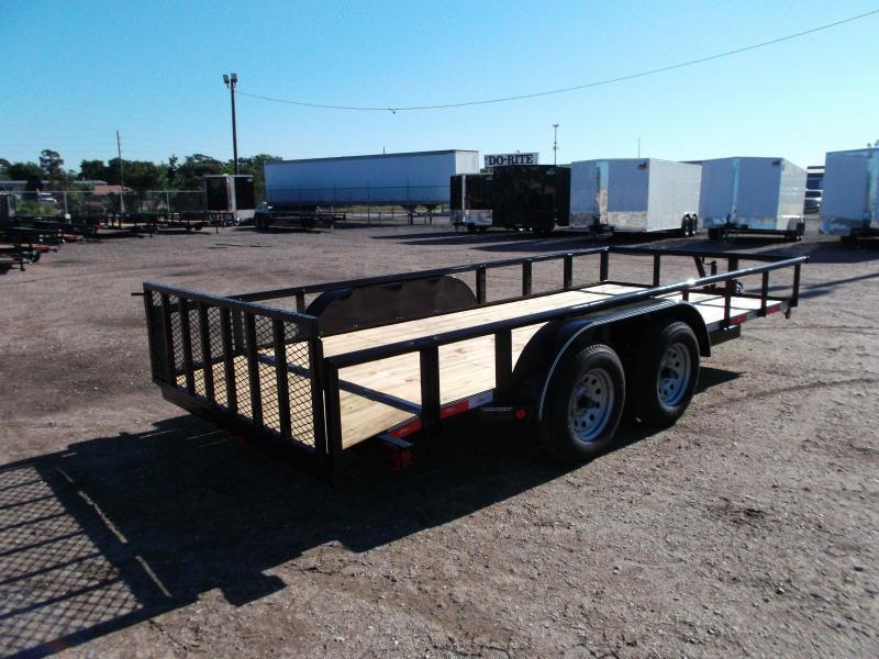 2020 Longhorn Trailers 16ft Utility Trailer w/ Pipetop / 2ft Dovetail / 2ft Ramp Gate