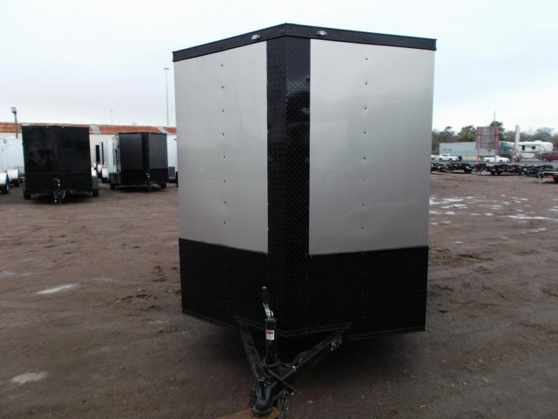 """2020 Texas Select 6x12 Single Axle Cargo Trailer / Enclosed Trailer / Silver / Blacked Out / 6'3"""" Interior / Ramp / Side Door / LEDs"""