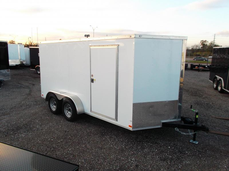 SUPER SPECIAL - 2019 Covered Wagon Trailers 7x12 Tandem Axle Motorcycle Trailer / Cargo Trailer / Enclosed Trailer / Ramp / RV Door / LEDs