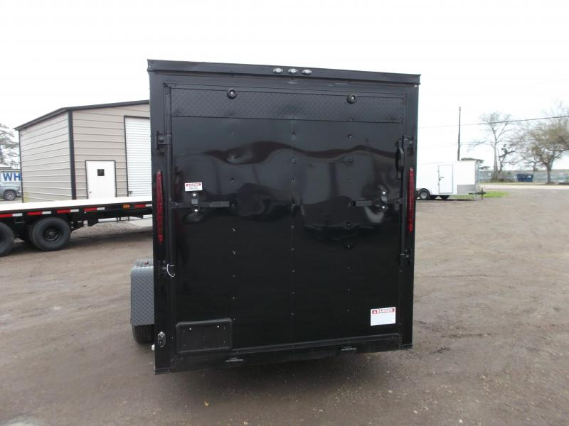 "2020 Texas Select 6x12 Single Axle Cargo Trailer / Enclosed Trailer / Black / Blacked Out / 6'3"" Interior / Ramp / Side Door / LEDs"