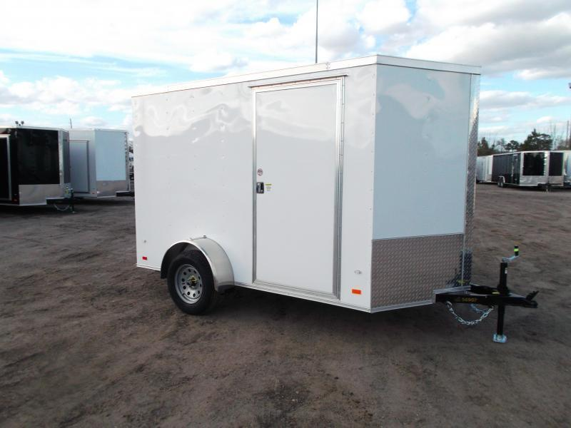 """SPECIAL - 2020 Covered Wagon Trailers 6x10 Single Axle Cargo Trailer / Enclosed Trailer / Ramp / 6'3"""" Interior / RV Side Door / LEDs"""