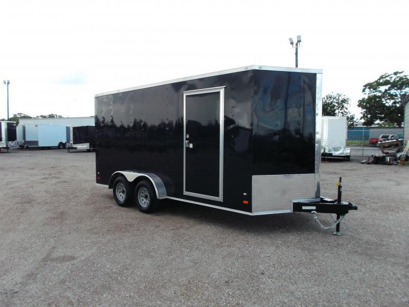 SUPER SPECIAL - 2020 Covered Wagon Trailers 7x16 Tandem Axle Cargo Trailer / Enclosed Trailer / 7ft Interior / Ramp / 5200# Axles / RV Door / LEDs