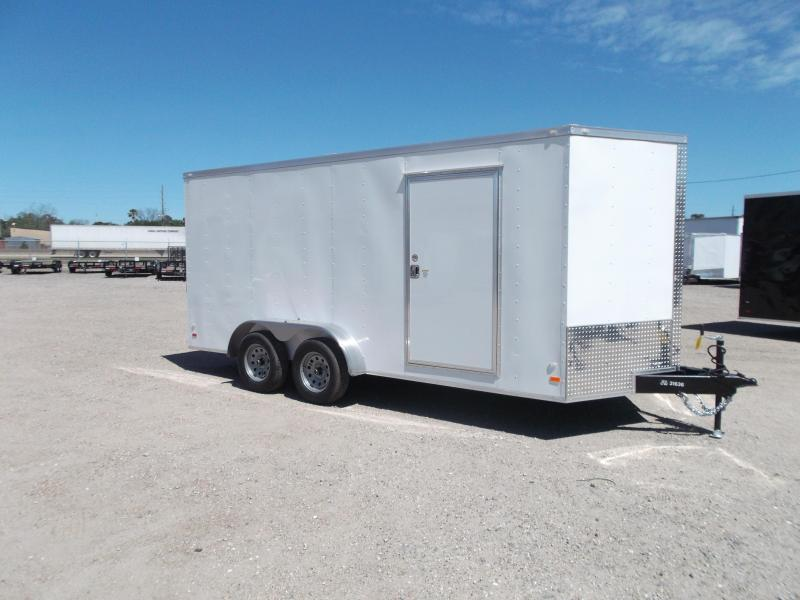 "2020 Covered Wagon Trailers 7x16 Tandem Axle Cargo Trailer / Enclosed Trailer / 6'6"" Interior / RV Door / LEDs"