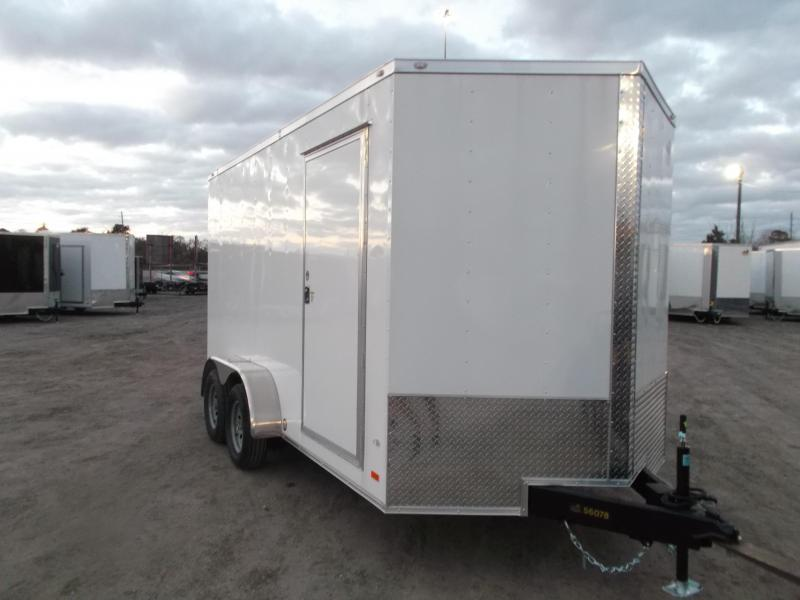 "2020 Covered Wagon Trailers 7x14 Tandem Axle Cargo / Enclosed Trailer / 6'6"" Interior / Ramp / RV SIde Door / LEDs"