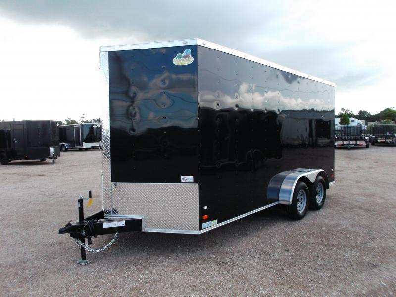 2020 Covered Wagon Trailers 7x16 Tandem Axle Cargo Trailer / Enclosed Trailer / BLACK OUT PACKAGE / Ramp / RV Door / LEDs