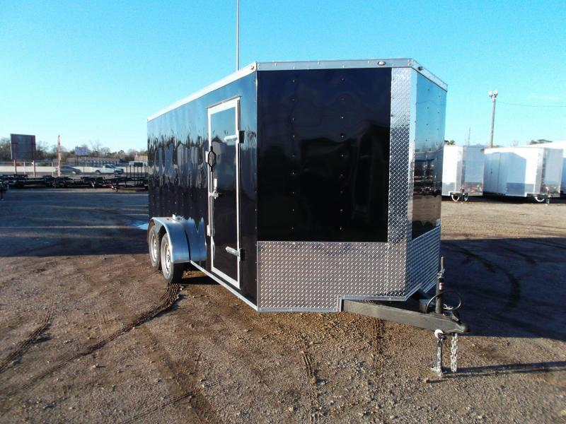"""SPECIAL - 2019 Texas Select 7x16 Tandem Axle Cargo Trailer / Enclosed Trailer / Ramp / 6'6"""" Interior Height / Side Door / LEDs"""