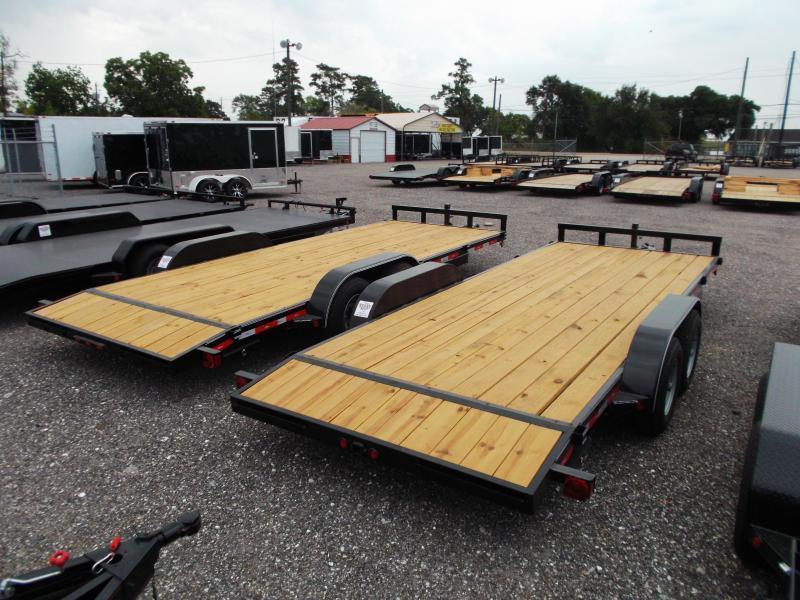 2020 Longhorn Trailers 20ft Tandem Axle 10K Car Hauler / Racing Trailer / Flat Deck / 5200# Axles / 7K Jack / 2ft Dovetail / 5ft Ramps