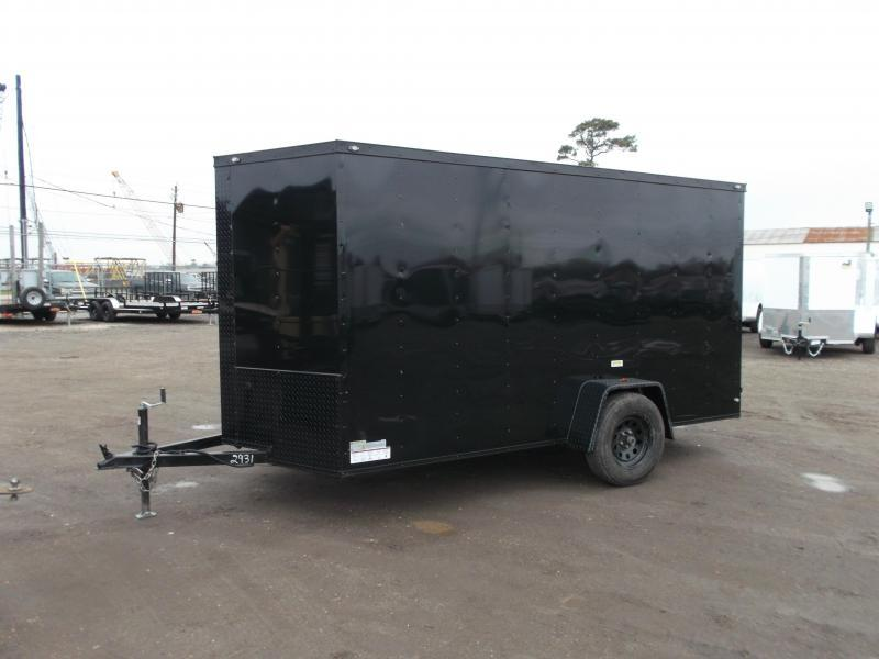 """SPECIAL - 2020 Texas Select 6x12 Single Axle Cargo Trailer / Enclosed Trailer / Black / Blacked Out / 6'3"""" Interior / Ramp / Side Door / LEDs"""