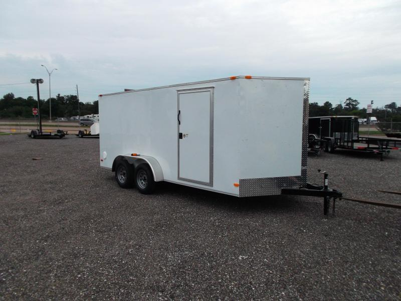 "SPECIAL - 2020 Covered Wagon Trailers 7x16 Tandem Axle Cargo Trailer / Enclosed Trailer / 6'6"" Interior Height / Ramp / RV Side Door / 1 Piece Roof"