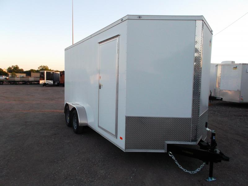 "SPECIAL - 2020 Covered Wagon Trailers 7x16 Tandem Axle Cargo / Enclosed Trailer / 6'6"" Interior / 5200# Axles / Ramp / LEDs"