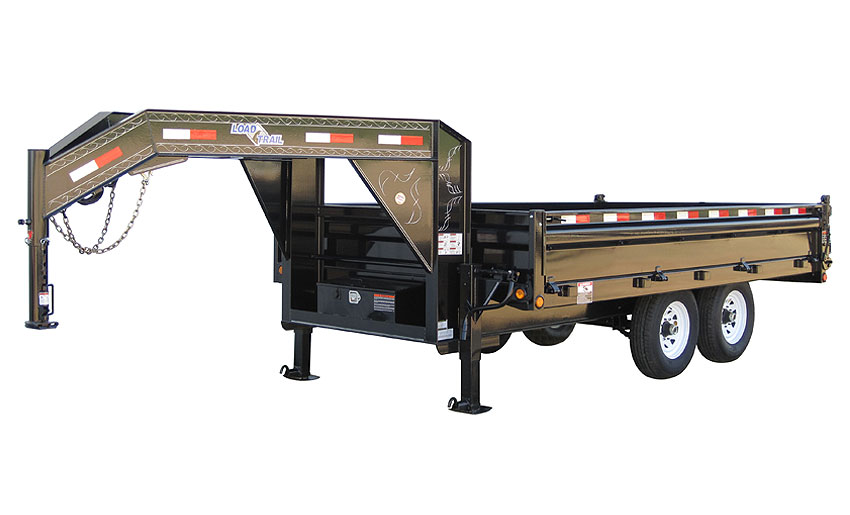 "2015 Load Trail 96"" X 16' Tandem Axle Gooseneck Deck Over Dump Trailer (with scissor lift)"