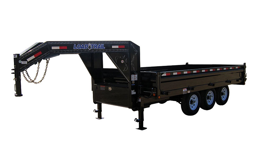 "2014 Load Trail 96"" X 16' Triple Axle Gooseneck Deck Over Dump Trailer (with scissor lift)"