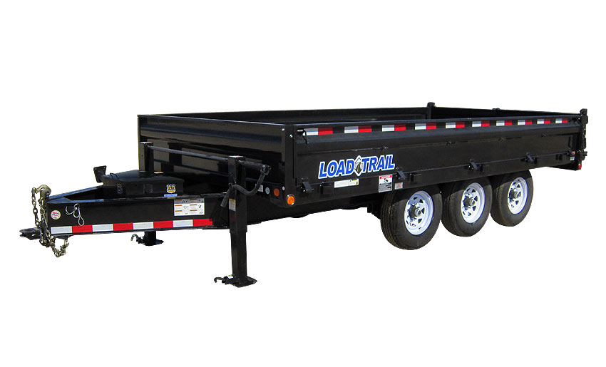 "2015 Load Trail 96"" X 16' Triple Axle Deck Over Dump (with scissor lift)"