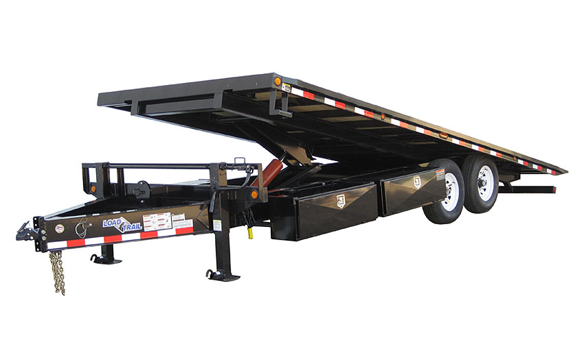 "2016 Load Trail 102"" X 24' Pintle Hook Equipment Tilt Deck   2-7,000 lb Axles w/Hoist"