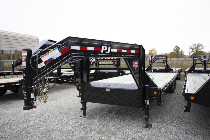 2019 PJ Trailers 28 2 Ramp Gooseneck Flatbed Trailer