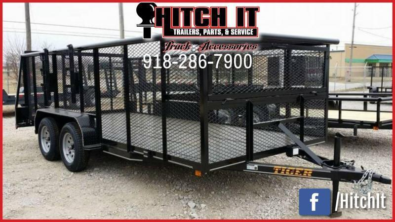 83 x 16 Landscape Trailer w/ HD TRACTOR Gate ^2X2 LOCKING BOX ^BRAKES **WEED EATER RACKS**