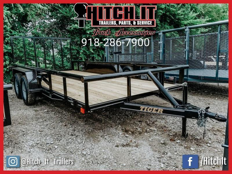 TIGER 77x16 Pipetop Utility Trailer w/ SLIDE IN RAMPS