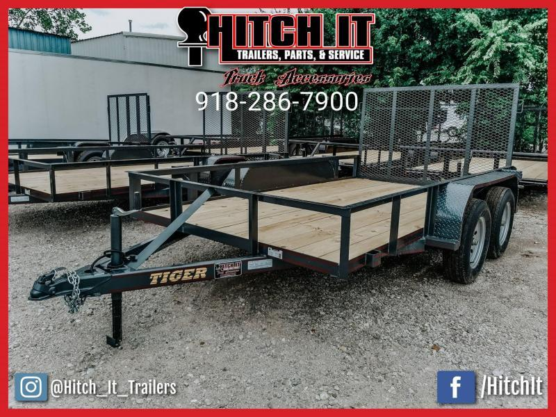 Tiger 77 X 12 Tandem Axle Utility Trailer w/ Ramp Gate *FULL WRAP TONGUE*3500 lb axles