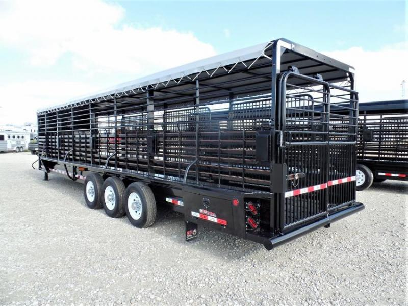2020 GR Trailers 32' GN Livestock Trailer w/ Tarp Roof Livestock Trailer