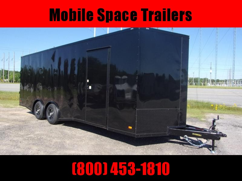 Covered Wagon Trailers 8.5x24  7ft hgt Black Bk out Spread axles ramp door Enclosed Cargo