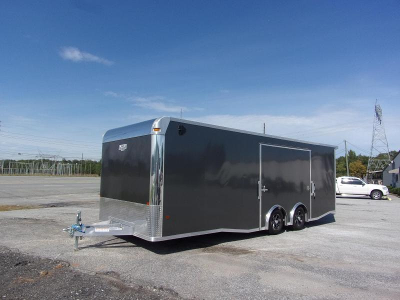 2019 Mission 8.5x24 Char Coal Grey spread axle ramp door Elite Ecsape door Enclosed Cargo Trailer
