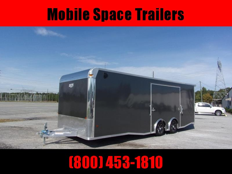 Mission 8.5x24 Char Coal Grey spread axle ramp door Elite Ecsape door Enclosed Cargo Trailer