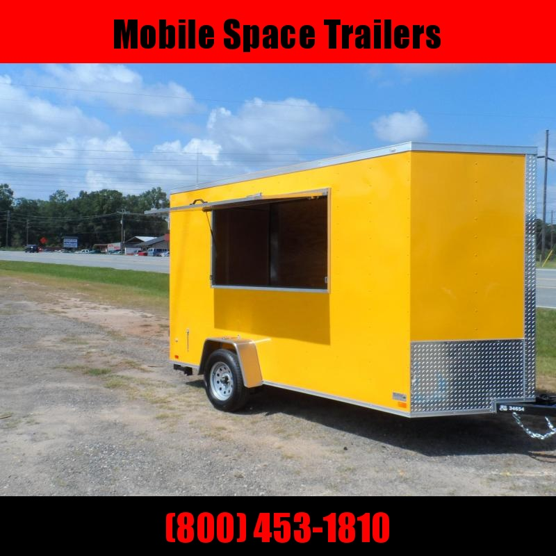 Covered Wagon Trailers 6x12 7' 3x6 Window Yellow Enclosed Cargo Concesion