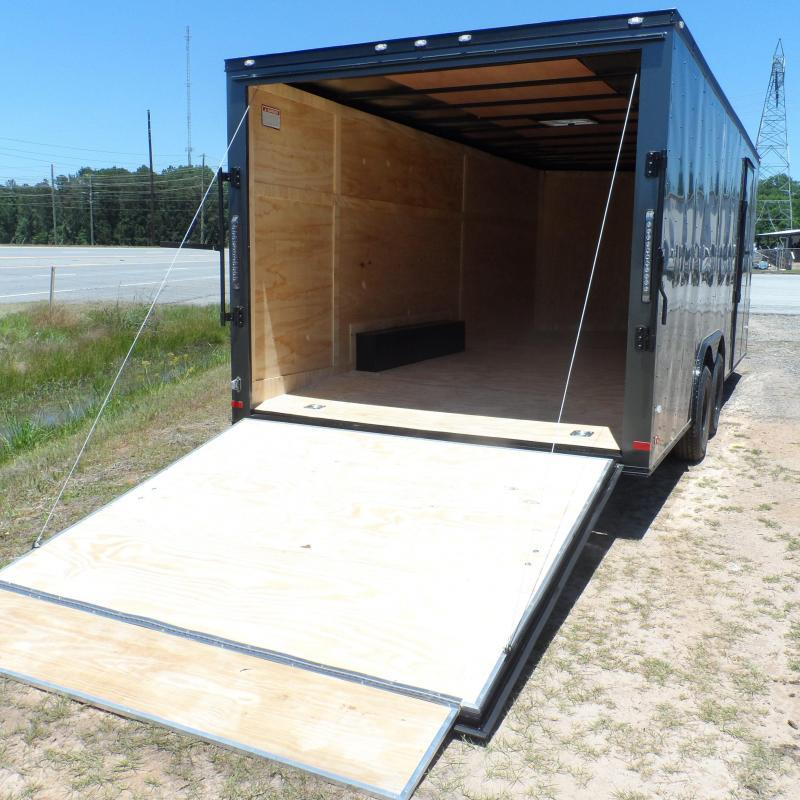 2019 Covered Wagon Trailers 8.5x24 Charcoal  Black out ramp door Enclosed Cargo