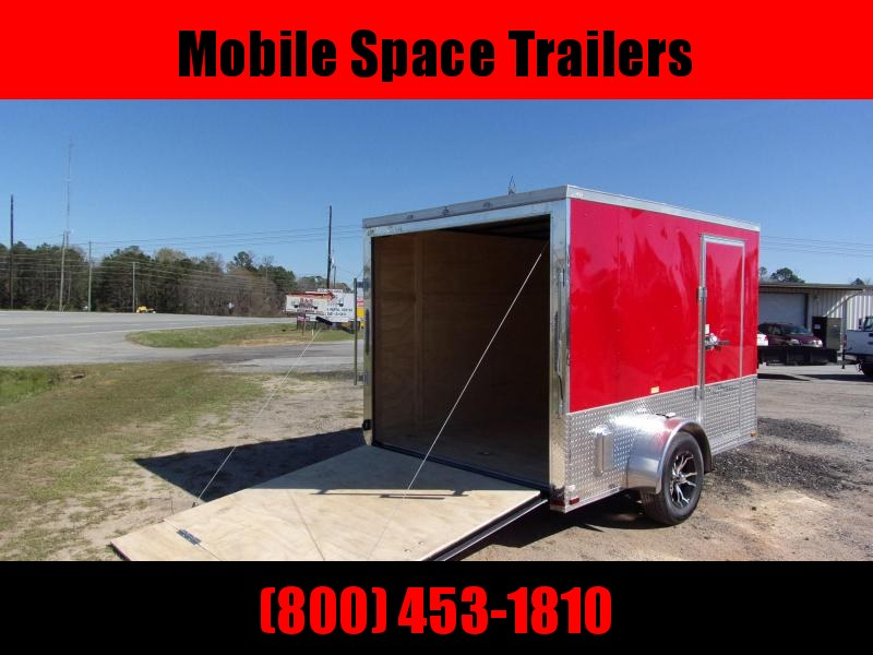 Liberty Cargo 7x10 MCP ramp door  Red Enclosed Cargo Trailer