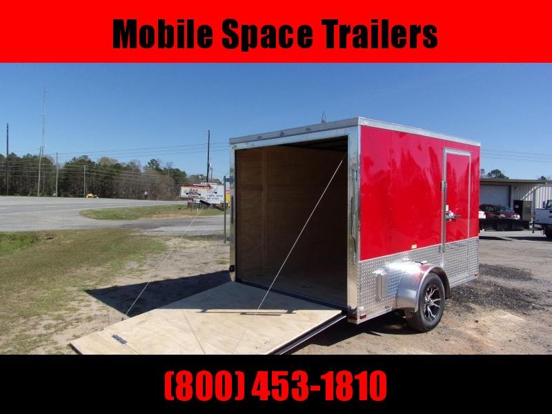 Liberty Cargo 7x10 MCP ramp door  Red Enclosed Cargo Trailer