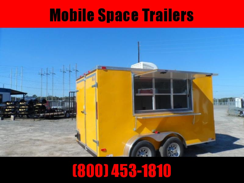 Covered Wagon Trailers 7x12 TA 7' 3x6 Window Yellow Vending Enclosed Cargo Concesion