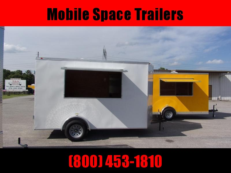 EagleCargo Trailers 6x12 7' 3x6 Window WHITE Enclosed Cargo Concesion